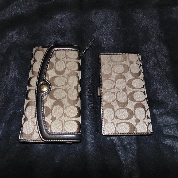 Coach Monogram Bronze Leather Wallet AND Checkbook
